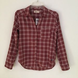 NWT Hollister button up dk red flannel shirt XS